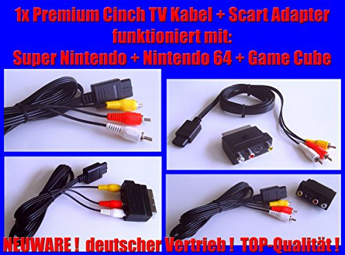 Cinch / Chinch AV TV Kabel + Scart Adapter für folgende Konsole : SNES Super Nintendo 64 N64 Game Cube NEUWARE (64 Av-adapter Nintendo)