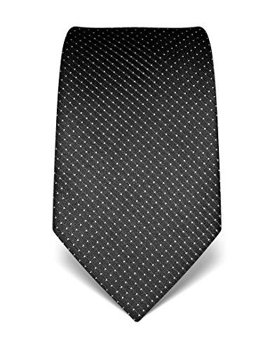 Vincenzo Boretti Herren Krawatte reine Seide gepunktet edel Männer-Design gebunden zum Hemd mit Anzug für Business Hochzeit 8 cm schmal / breit anthrazit (Seide Krawatte Schwarz Reine)