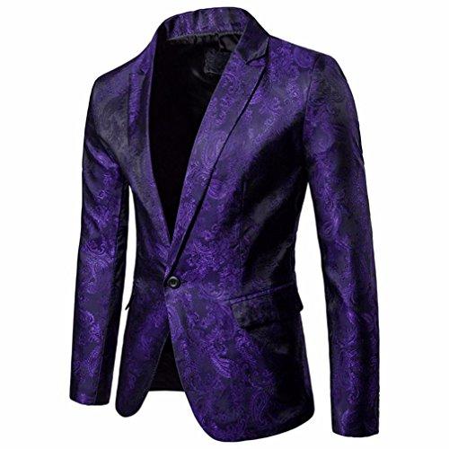 VENMO Charm Herren One Button Tops Passform Anzug Blazer Herren Stehkragen Sakko Business Klassisch Knopf Slim Fit Blazer Büro Alltag Kurzmantel Haarig Tunika Jacke Mantel Outerwear (Purple, L) (Anzug 3-knopf-klassisches)