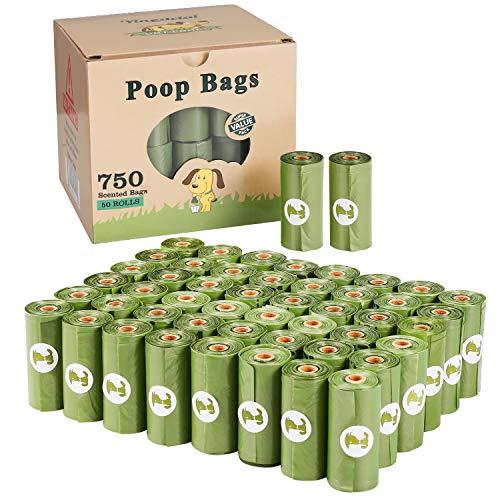 Yingdelai sacchetti per la spazzatura del cane, 50 rotoli (750 sacchetti), grandi e spessi, biodegradabili, profumati, ecologici
