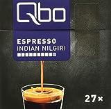 Qbo Kapseln - Espresso Indian Nilgiri (intensiv, vollmundig-kräftig, Anklänge von Pfeffer und zartbitterem Röstaroma, 80% Robusta, 20% Arabica) 2er Pack (2 x 27 Kapseln)