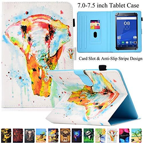 Universal Tablet-Schutzhülle, Artyond PU Leder Multi-Winkel Ständer Hülle mit Kartenschlitzen für Android, Windows, Kindle, Galaxy Tab und andere 17,8-7,5 Zoll Tablet, Color Elephant - Ständer Für 7-zoll-kindle