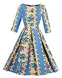 VERNASSA 50s Dame Retro Kleider, Abendkleid Elegant Cocktailkleid Vintag 3/4 Arm Knielang Party Rockailly Swing Kleid, Gr.36-46, Mehrfarbig