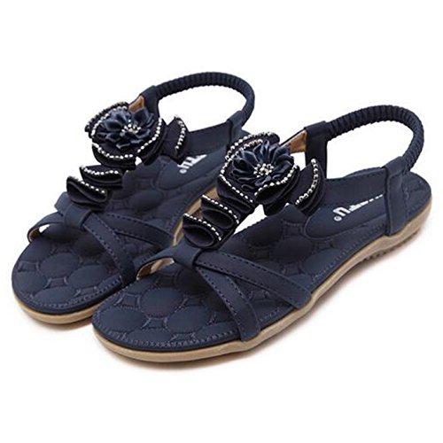 SUNAVY Damen Böhmen Blumen-Dekoration Sommer Sandalen Flach Strand Schuhe(EU 34--EU 40) Blau