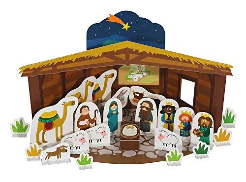 (POWERHAUS24 Krippenspiel, Bastelvorlage Weihnachten, Papier Spiele-Set zum Basteln & Spielen)