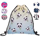Schultertasche / Rucksack mit Kordelzug aus Nylon, faltbar, Aufbewahrungsmöglichkeit für Schule, Zuhause, Reisen, Sport, Emoji panda