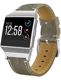 Fitbit Ionic correa de reloj, LifeePro Correa Reloj Vintage de Cuero Genuino Repuesto Correa con Compatible con Relojes Tradicionales (Verde Oscuro)