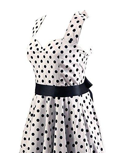 VKStar®Retro Stil Rückenfrei ärmelloses Kleid Cocktailkleid/Abendkleid mit farbig Punkte Female Rockabilly Swing Kleid Weiß Schwarz Punkte