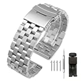 18mm Silver Quick Release Watch Band 5 Rows Brushed Stainless Steel Bracelet Metal Watch Straps for Ladies Black Deployment Clasp Wristband