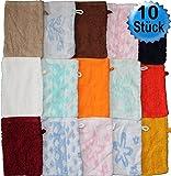 10 pcs guanto da bagno in spugna, assortiti, ca, 15 x 21 cm, guanto, spugna, 100% cotone (assortiti)