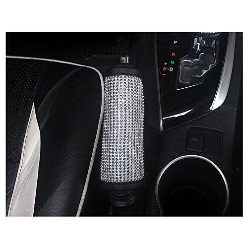 LuckySHD Kristall Auto Handbremshebel Gear Shift Cover Sicherheitsgurt Haltegriff Cover mit Bling Strass Car Accessories Schutzhülle für Frauen One Size Silber