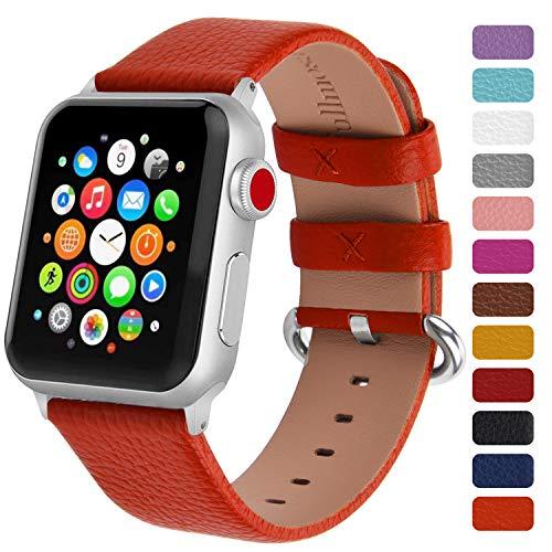 Fullmosa Klassische Litichi Leder Watch Armband Kompatibel für Apple Watch Series 5/4/3/2/1, 12 Farben iWatch Armband geeignet für Männer und Frauen mit Edelstahlschliesse 42mm,Orange -