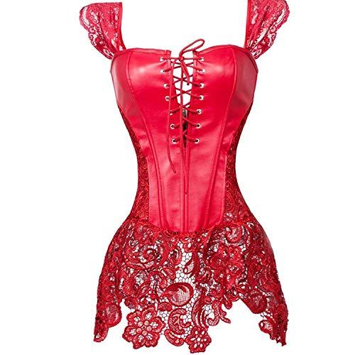 aizen Faux Leder Corsagenkleid Spitze Korsett Corsage Übergrößen Damen Gothic Sexy rot L