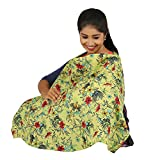 #5: - Pure Viscose printed baby nursery feeding apron/Feeding cloak - Green AOP