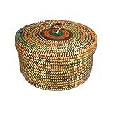 Krimskramskorb Ø 30cm | Aufbewahrungskorb mit Deckel | Handarbeit | Fair Trade