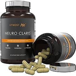 Vitamina per il Cervello - Integratore Nootropico | Memoria, Concentrazione ed Attenzione | Formula per Migliorare L'Attività Delle Onde Cerebrali Alfa | L-Tirosina, Curcuma, Rhodiola ed Altri 14 Ingredienti Clinicamente Testati | L'Unico Rimedio di Potenziamento Cognitivo Naturale Senza Caffeina | Neuro Claris di Utmost Me