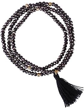 KELITCH Handmade 3 Kreis Strecharmband Facette Kristall Perlen Freundschaftarmband Halskette mit Kleine Quaste...