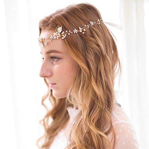 Vintage Perlen Strass Rebe Kopfstück Blume Blätter Haarbänder Haarschmuck Hochzeit -