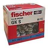 Fischer 542459 Tassello Cartongesso GK, Grigio, pz con vite, Set di 40 Pezzi
