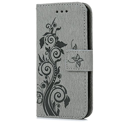 iPhone 7 Plus Hülle Case, Kasos Premium PU Ledertasche Schutzhülle Handyhülle Prägung Schmetterling Design Stand Bookstyle Handycase Etui Flip Cover Schale Hüllen für iPhone 7 Plus (5,5 Zoll) Grau