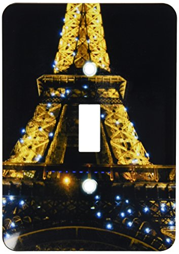 3drose l.s.p. _ 107793_ 1Eiffel Tower Front View, Global Icon Monument von Frankreich, beleuchtet bei Nacht, Paris Single Toggle Switch