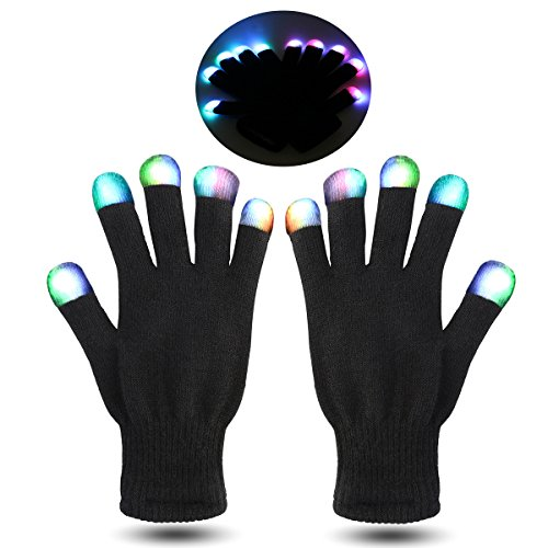 Foxnovo LED blinkt Party Rave 7 Farben Finger Beleuchtung Handschuhe (Party Kostüme Für Jugendliche)