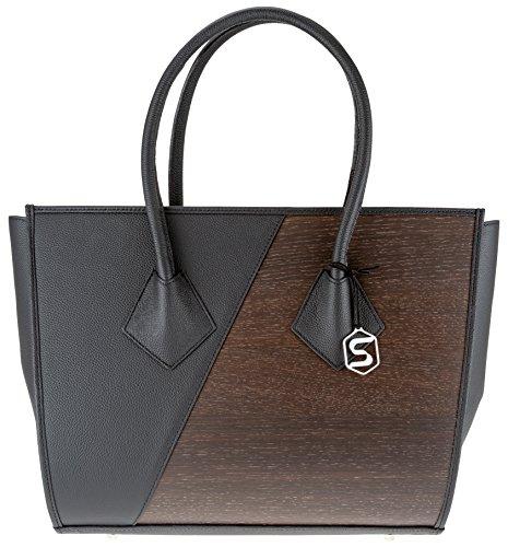 SEBASTIAN STURM Handtasche BETTY | Gefertigt aus Echtholz Typ Räuchereiche und Rindleder | Henkeltasche Schwarz | By