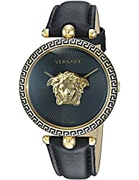 Versace Women's 'PALAZZO EMPIRE' Swiss Quartz Gold and Leather Casual Watch, Color:Black (Model: VCO020017)