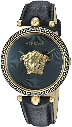 Versace Women's 'PALAZZO EMPIRE' Swiss Quartz Gold and Leather Casual Watch, Color Black (Model: VCO020017)