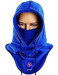 upmall® multiusos uso térmico forro polar con capucha pasamontañas esquí bici cortavientos máscara de cara completa cuello más cálido para invierno actividades al aire libre, mujer hombre, color azul, tamaño talla única