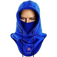 Pasamontañas, multiusos, uso térmico, forro polar con capucha, máscara, para actividades de invierno al aire libre, mujer hombre, color azul, tamaño talla única