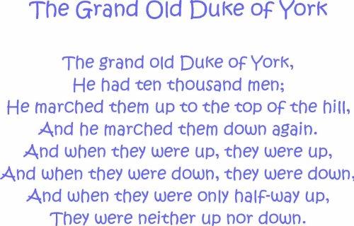 Intercoat Grand Old Duke of York Art Mural Autocollant pour Enfant Nursery Rhyme 100 x 64 cm