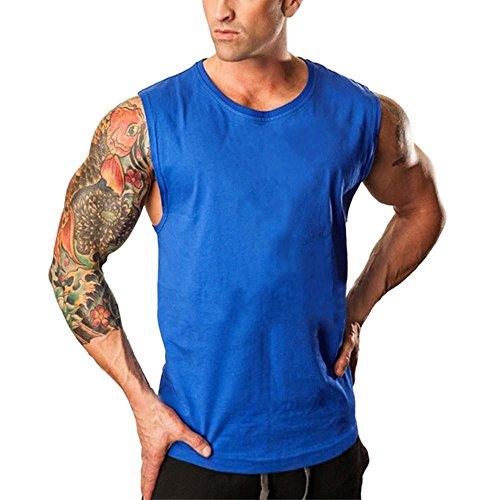Huihong Herren Unterhemd Ärmellos Turnhallen Bodybuilding Fitness Muskel Shirt Singulett T Shirt Sport Shirt Tops Weste Tank (Blau, 2XL)