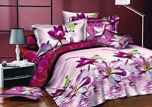 AmeliaHome 91579 Bettwäsche 200x220 cm mit 2 Kissenbezügen 80x80 Bettwäscheset Bettbezüge Microfaser Bettwäschegarnituren Reißverschluss Blume Blumen Blumenmuster Jane rosa amarant