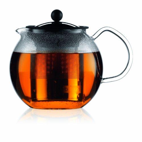 Bodum 1801-16, Assam, Teiera a pistone con filtro, 1,0 L, inox brillante