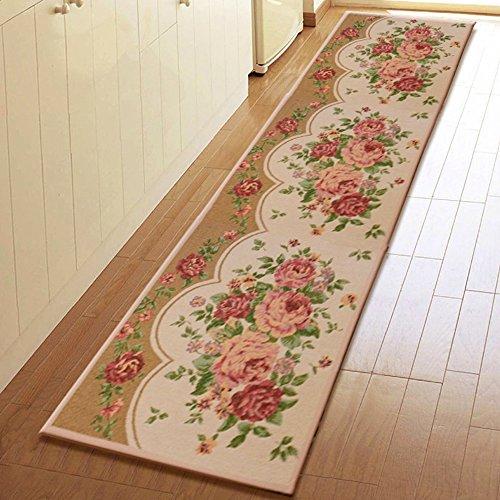 Yazi Peony Teppiche waschbar Teppich rutschfeste Matte Küche Läufer Blumen für Home Décor Spiegelschichte 45x - Küche-teppich-blumen