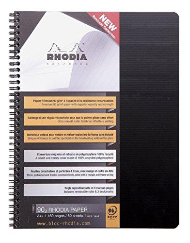 Clairefontaine 119910C - Rhodiactive cuaderno 5x5 con margen, 160 páginas, A5+, negro