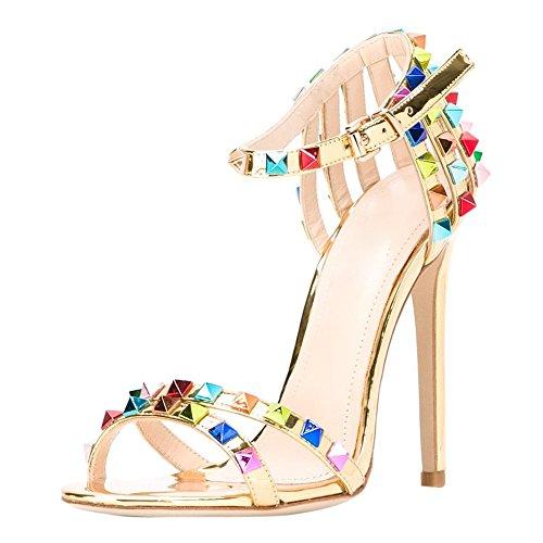 Damen Open Toe Lackleder High-Heels Stiletto mit bunte Nieten Gold