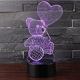 3D Optische Illusions-Lampen NHsunray LED 7 Farben Touch-Schalter Ändern Nachtlicht Für Schlafzimmer Home Decoration Hochzeit Geburtstag Weihnachten Valentine Geschenk (BALLON UND BÄR)