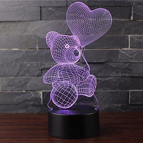s-Lampen NHsunray LED 7 Farben Touch-Schalter Ändern Nachtlicht Für Schlafzimmer Home Decoration Hochzeit Geburtstag Weihnachten Valentine Geschenk (BALLON UND BÄR) ()
