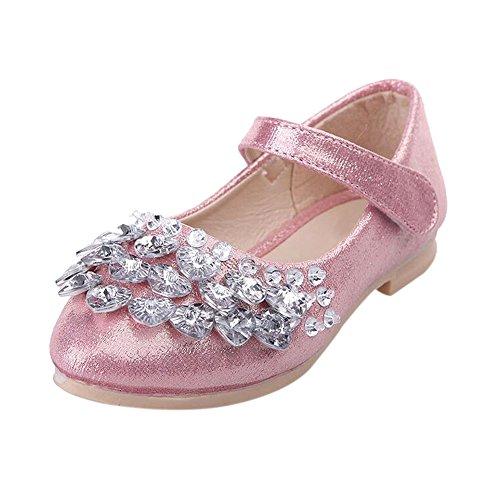 Meijunter Printemps Été Enfants Filles Shallow Mouth Rhinestones Bling Princesse Chaussures plates pink