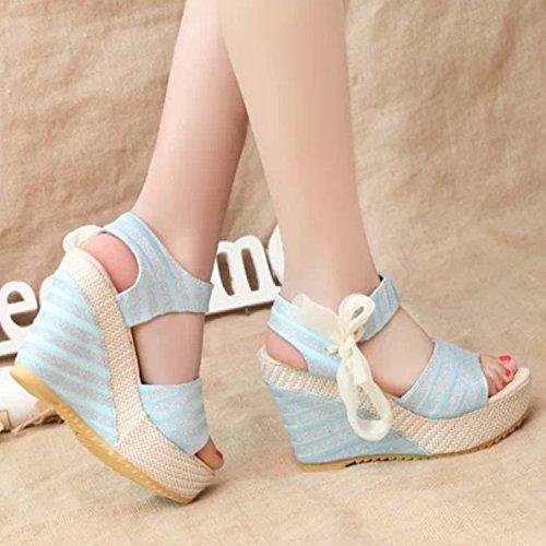Azbro Women's Stripe Peep Toe Wedge Heels Bow Sandals Blue
