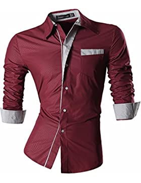 jeansian Uomo Camicie Maniche Lunghe Moda Men Shirts Slim Fit Causal Long Sleves Fashion Z024 Winered L