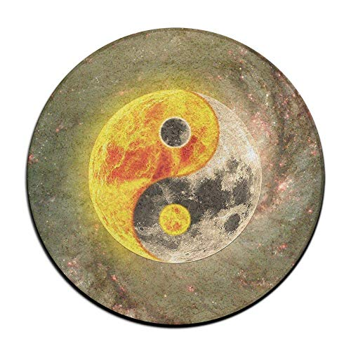 Uosliks Non-Slip Round Rug Yin Yang Earth Entrance Doormat Floor Pet Kids Mat Shoes Scraper Diameter 23.6 inch -