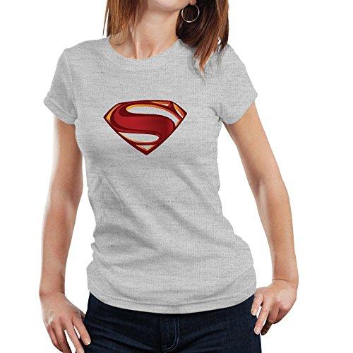 Fanideaz Branded Round Neck Cotton 3D Superman Tshirt for Women_Grey Melange_S
