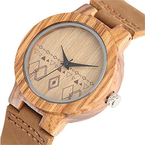 Minimalistische Holz Uhren Frauen StandardgrößE BöHmen Stil Kreative Bambus Quarz Armbanduhren Leder Analog Weibliche Uhr Only Watch