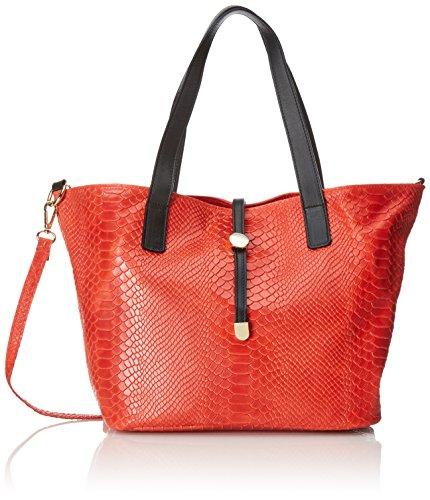 Sacs à main Sac pour femmes, Satchel avec imprimé python, 30x24x13cm, 100% cuir véritable Fabriqué en Italie Rouge (Rosso)