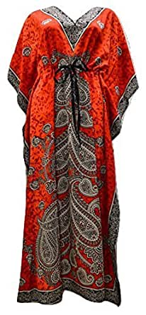 PLUS SIZE PAISLEY SUMMER/FESTIVAL PRINT DRAWSTRING BATWING SLEEVE KAFTAN RED