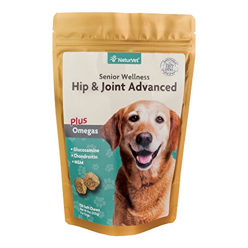 Omega Joint (naturvet Senior Wellness Hip & Joint Advanced Plus Omega für Hunde, 120 ct Soft Kaubonbons, Made in USA)