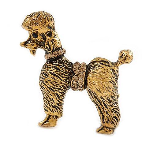 Unbekannt Silberton Vintage inspiriert Kristall Brosche Hund Pudel in Antik Gold Tone-35mm hoch